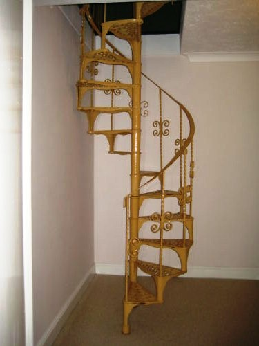 Tall Reclaimed Cast Iron Spiral Staircase with Top Rails 5432