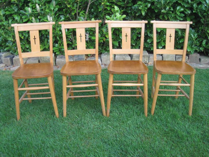Set Of 4 Kitchen Antique School Or Church Chairs Chapel Chair EBay