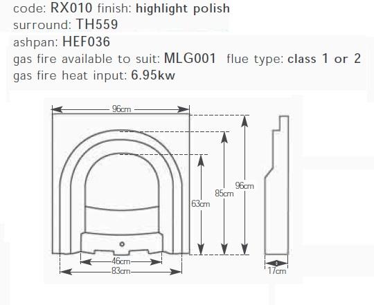 Celtic Arch Highlight Polish Cast Iron Fireplace Insert Rx010a