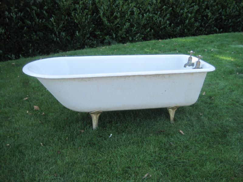 Antique Original Salvaged Roll Top Cast Iron Bath