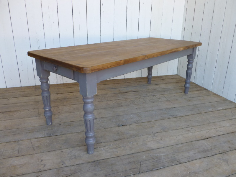 reclaimed pine farmhouse table with fluted legs 6024