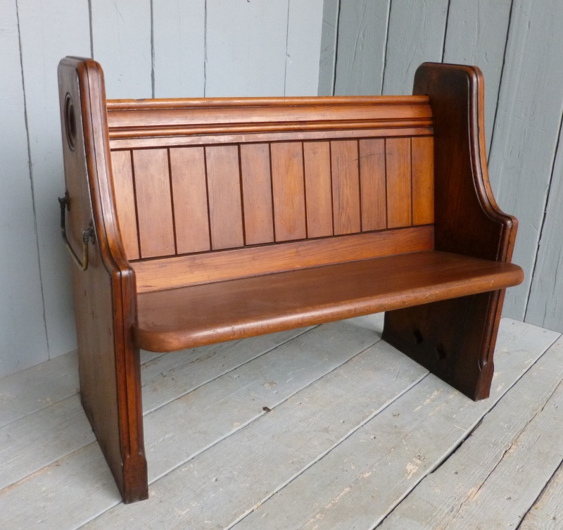 Antique Pitch Pine Church Pew 6217