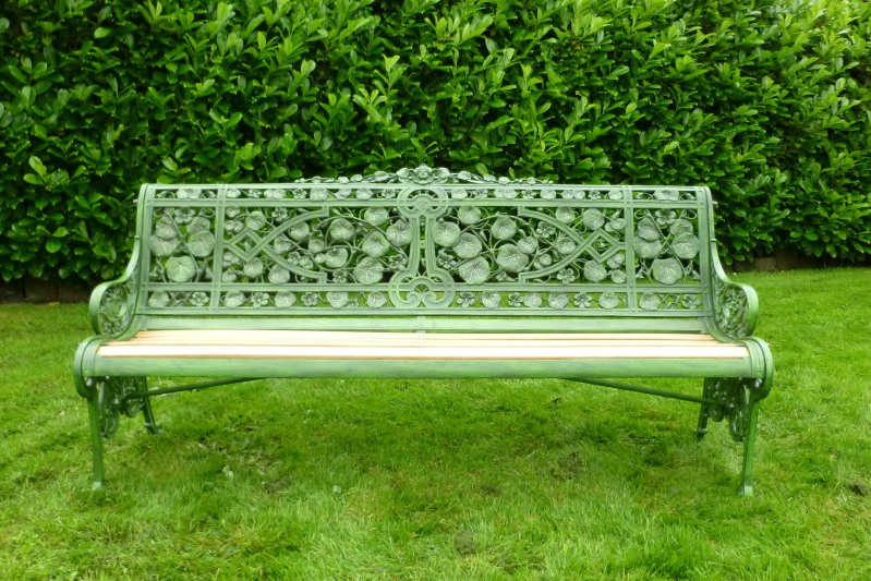 Antique original reclaimed coalbrookdale nasturtium pattern garden benches are available to view in our warehouse