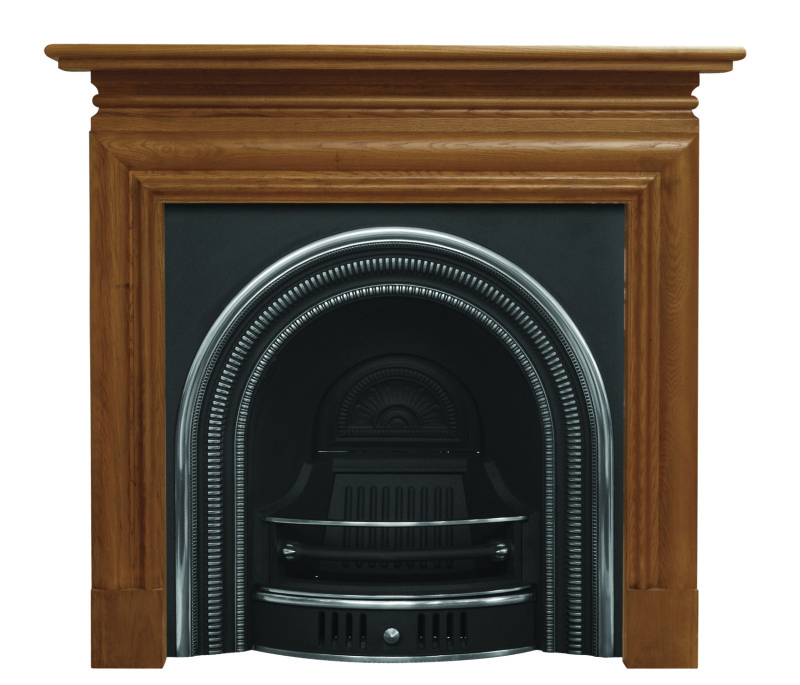 Arched collingham style RCM004 or RCM001 cast iron fireplace inserts are made by Carron in a black or highlight finish ready for immediate delivery worldwide