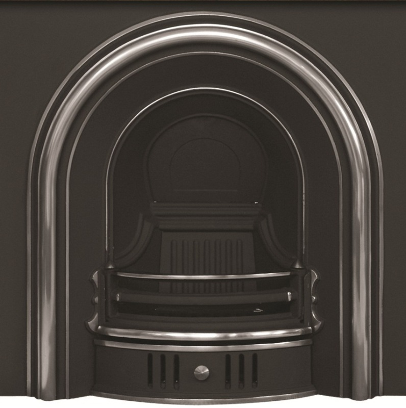 Coleby Arched Highlight Polish Cast Iron Fireplace Insert