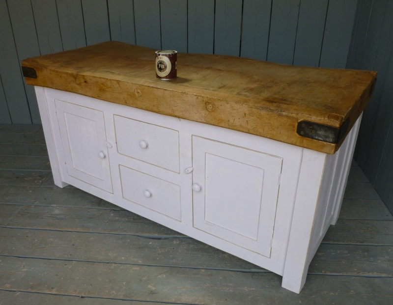 Second hand antique reclaimed butchers block in a traditional style with drawers fully refurbished and ready to view in our warehouse