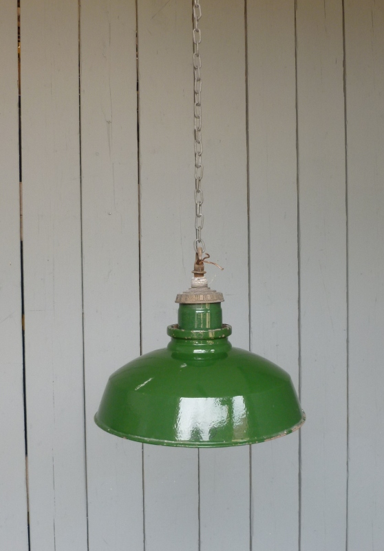 Antique Original Vintage Enamelled Industrial Lights ready to be fitted