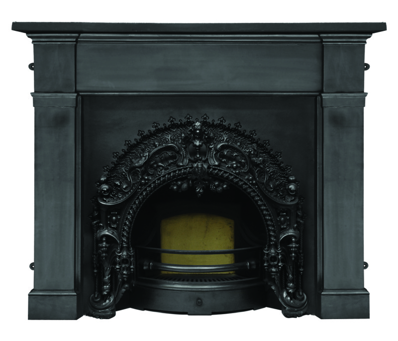 Carron cast iron rococo RX263 fireplace inserts and surrounds are heavily patterned and made