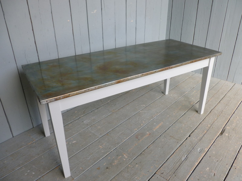 Antiqued Finish Zinc Top Reclaimed Pine Tapered Leg Table And Topped Tables