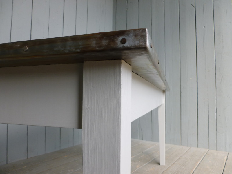 Close up of Zinc Table Corner