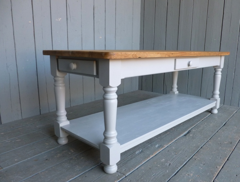 Chunky farmhouse table made from reclaimed pine bespoke made in your sizes and painted in a colour of your choice
