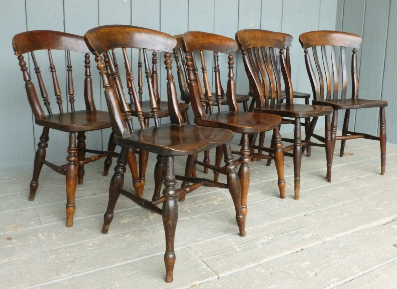 Set of 8 elm seated antique kitchen chairs 6473