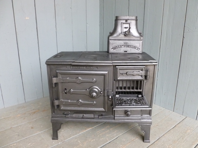 Original antique reclaimed Victorian kitchen stoves made by belle portable out of cast iron fully refurbished in our workshops ready for delivery worldwide