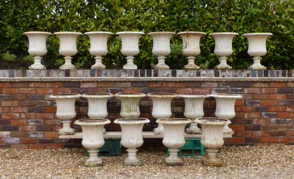 Antique garden decor uk garden designs set of 18 matching antique cast iron planters garden plant pots workwithnaturefo