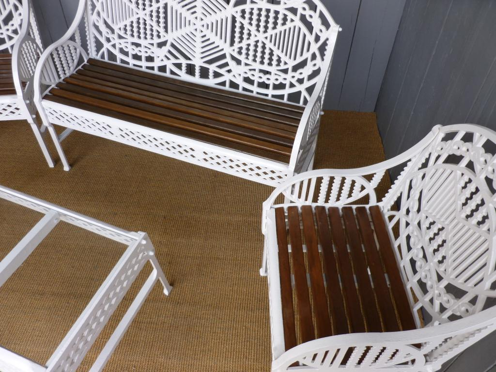 White Antique Fully Refurbished Garden Chairs, Tables And Benches Made By Edward Bawden For use in your summerhouse