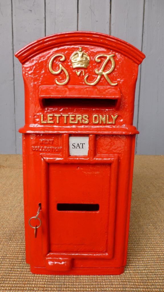 Antique reclaimed British royal mail hovis top post box