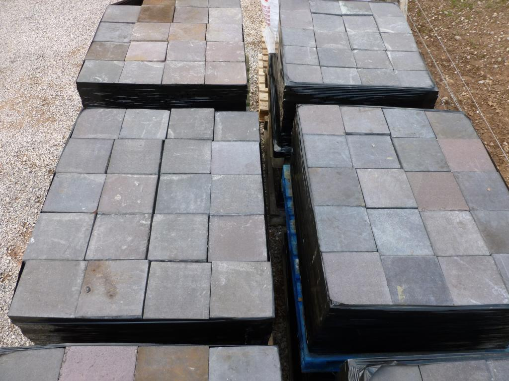 Large quantity of original antique blue brindle quarry tiles are available for delivery worldwide