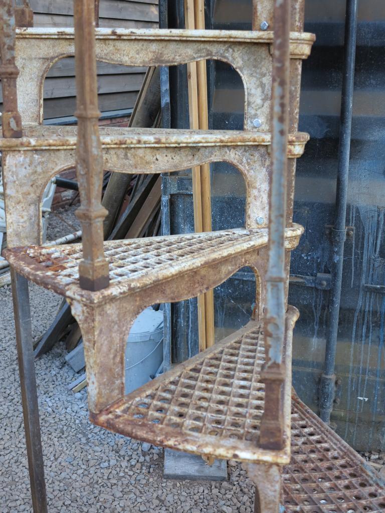 Victorian antique cast iron spiral staircase