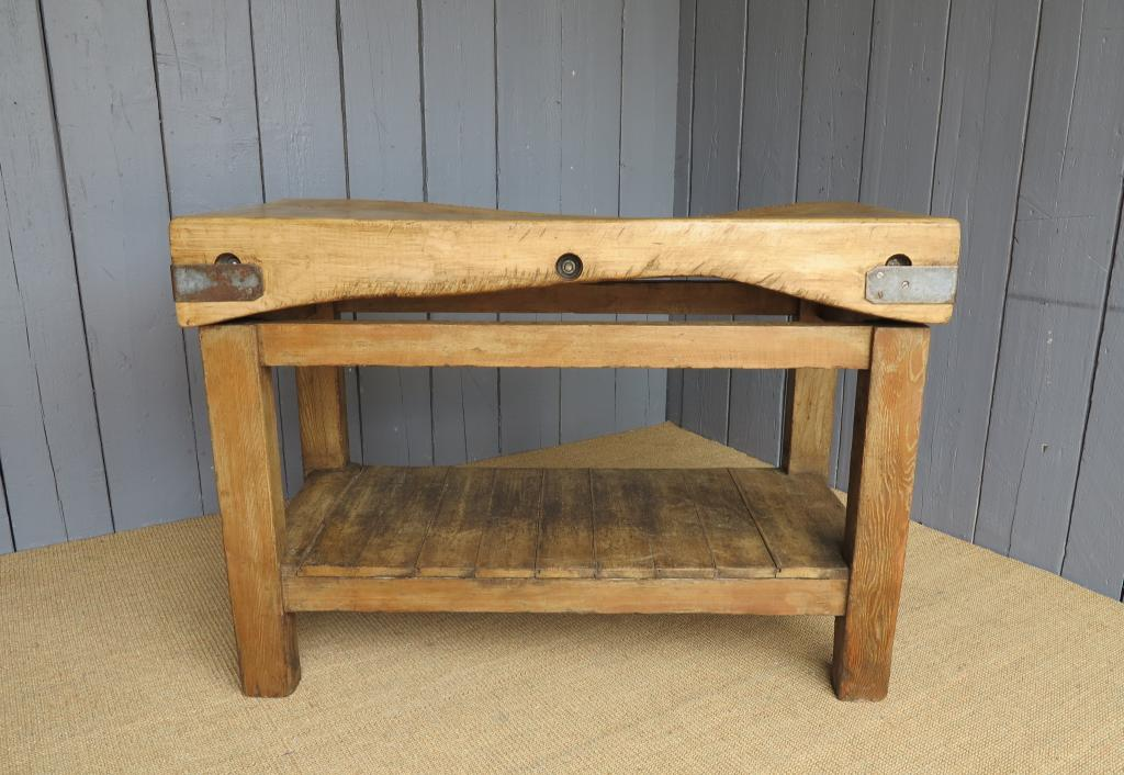 Antique Reclaimed Butchers Chopping Block On A Waxed Base Fully Refurbished In Our Works And Available