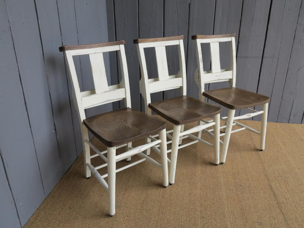 reclaimed wooden traditional antique chairs salvaged from old Churches and Chapels in the UK, painted in a bespoke colour to match kitchens and dining rooms