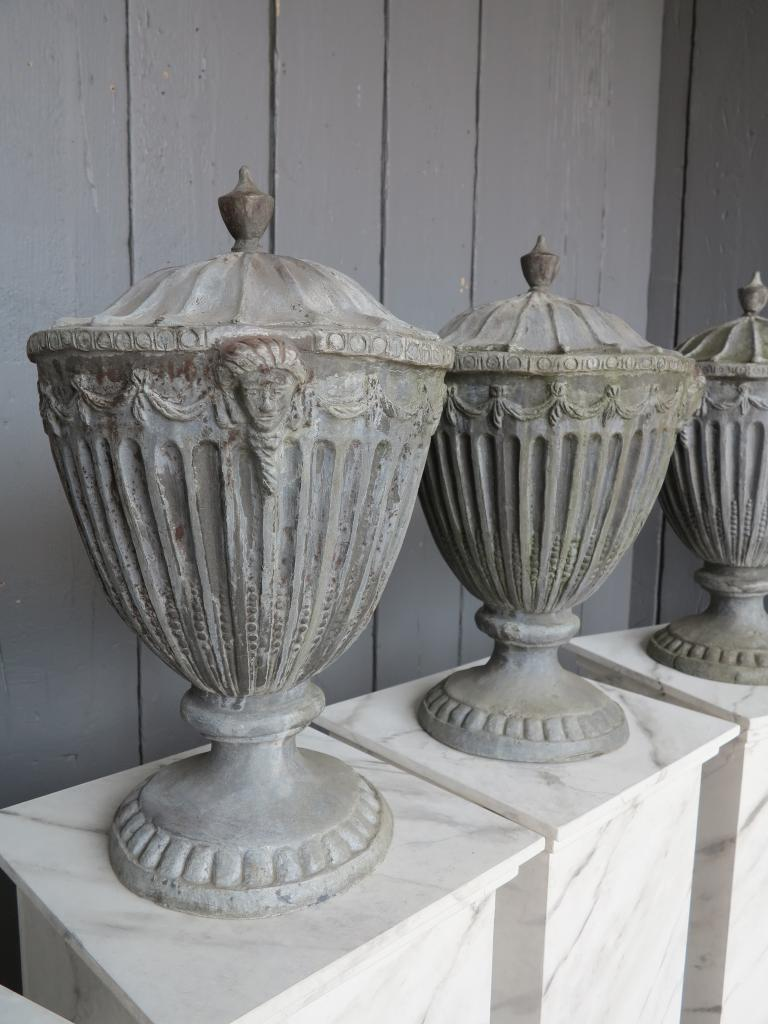 Antique Lead Set 6 Adam Finials On Wooden Plinths,adam finial,lead finials,set,4,lead,wooden plinths,statue,garden antiques,antiques,garden,buy,sell,uk,ukaa,for sale,shop,online,statuary,cannock wood,staffordshire,6486/6878
