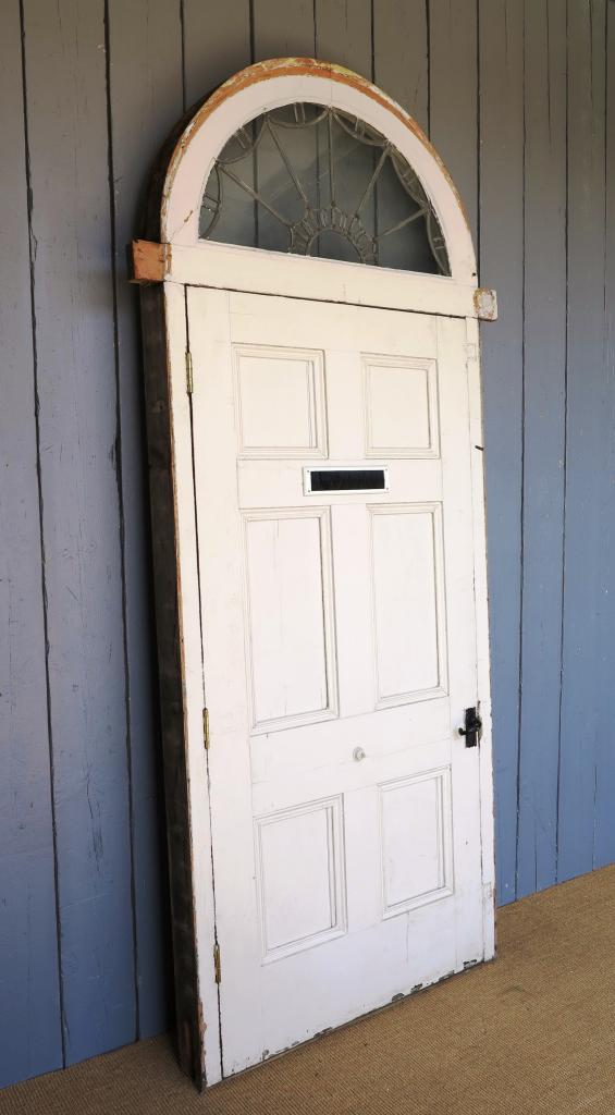Antique 6 panel pine front door with leaded arch topped for External back doors for sale
