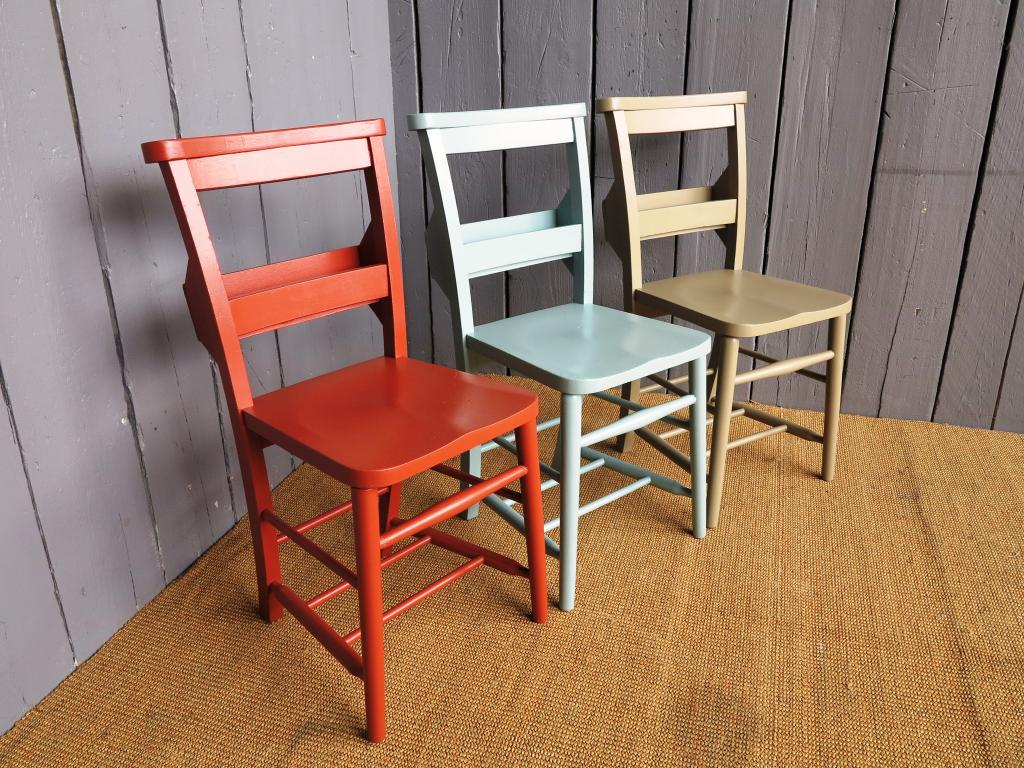 6 available rush seated antique church chairs with book for Painted kitchen chairs