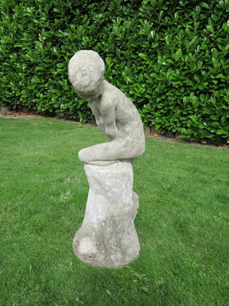 Old Garden Statue: Vintage Garden Statue Of A Boy