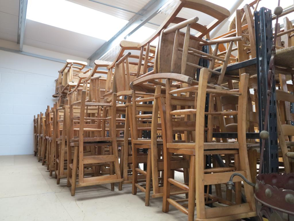 17 available antique church chairs without book holders for Used school furniture outlet