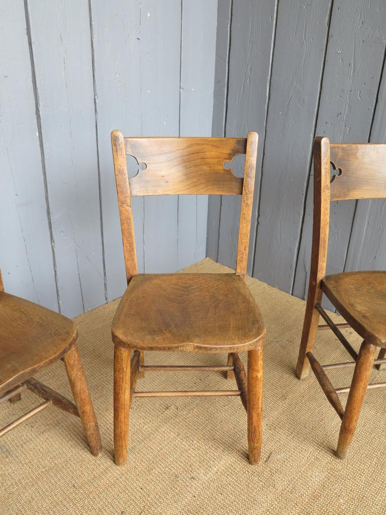 Antique Gothic Elm Church Chairs Seats Dining Chapel Kitchen Antique EBay
