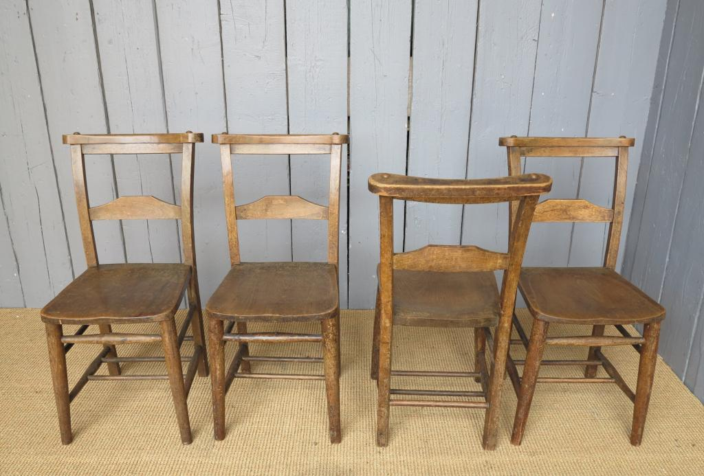 Antique solid elm church chairs seats dining chapel for Used school furniture outlet