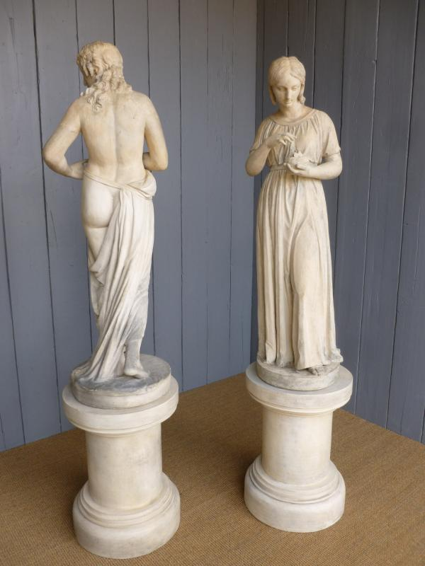 Female Coade stone statues are fully refurbished and available to view in our yard