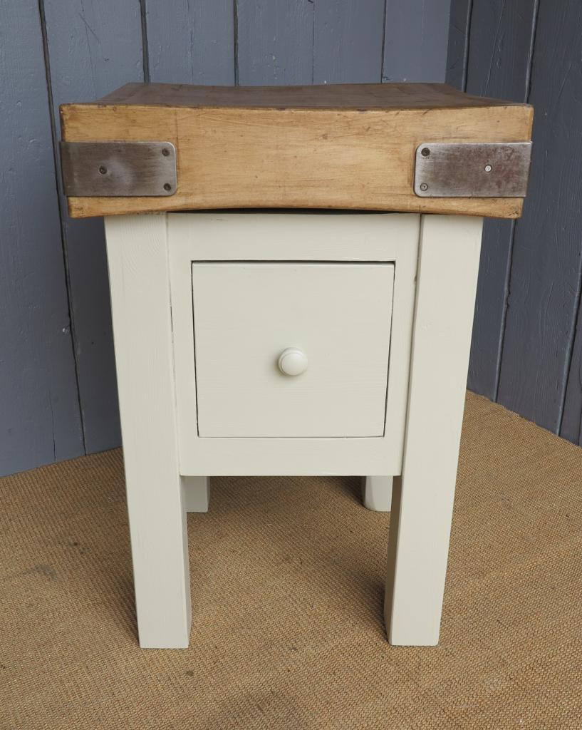 Small antique reclaimed butchers block in a traditional style with drawers fully refurbished and painted your colour choice ready to view in our showroom