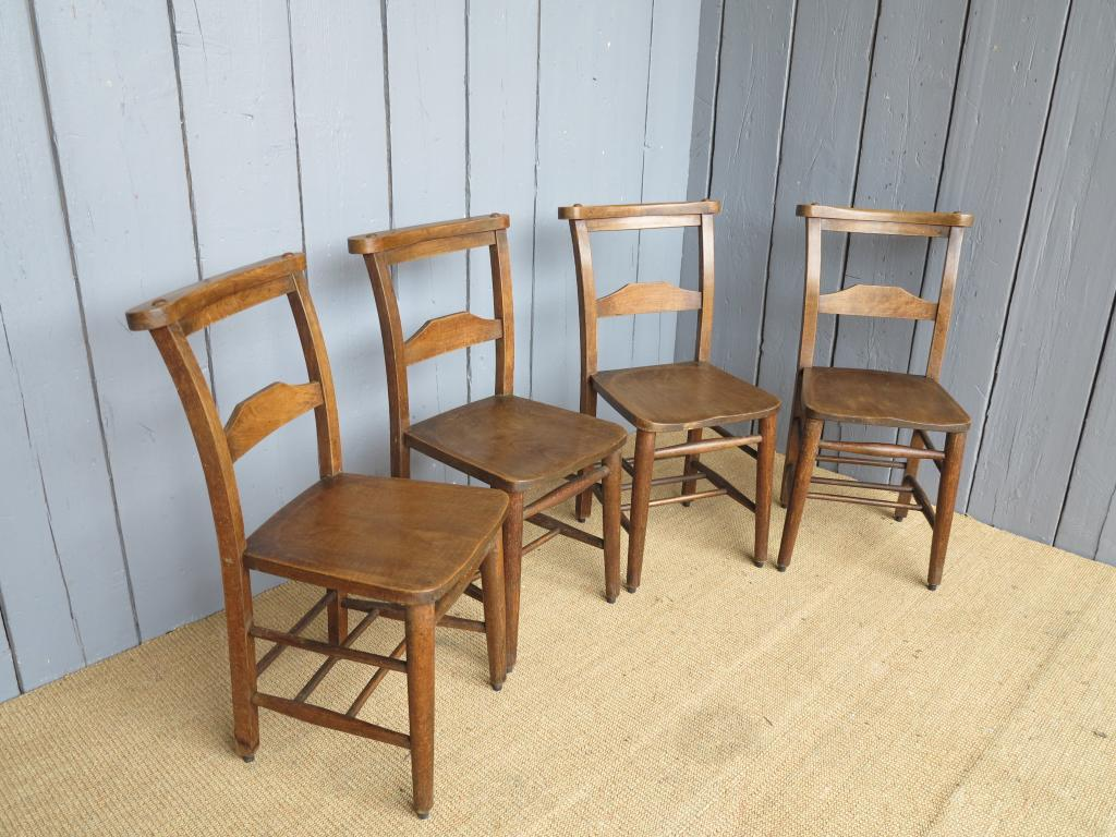 Set Of 4 Antique Church Chairs 6974