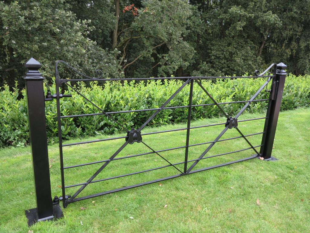 Wrought Iron Estate Gate And Pair Of Posts Driveway