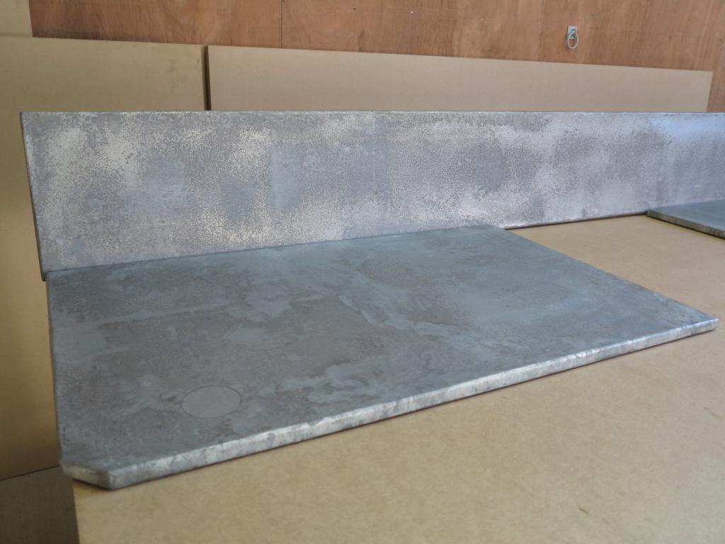 Distressed antiqued zinc kitchen worktops and splashback for Zinc countertop cost