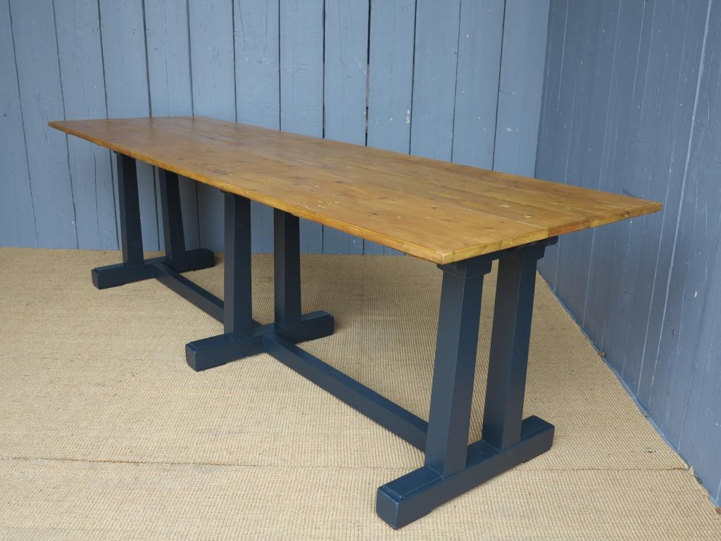 Antique salvaged reclaimed Victorian floorboard top tables custom built to your sizes here in our yard using old planks