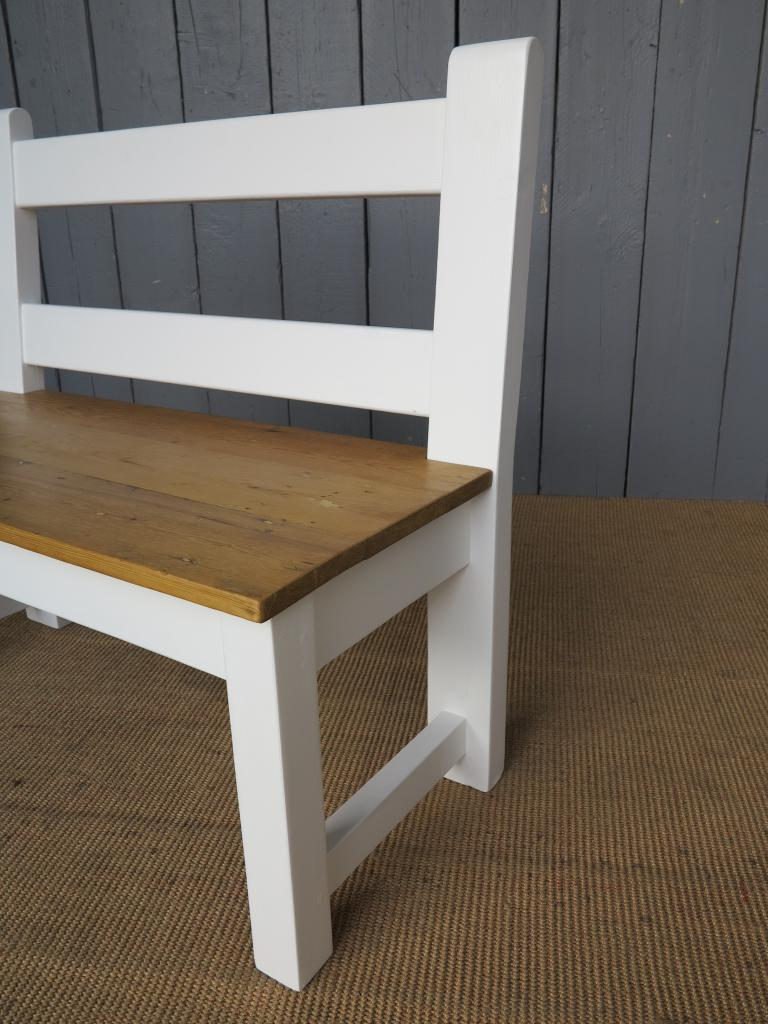 Antique Reclaimed Pine Kitchen Bench With Back