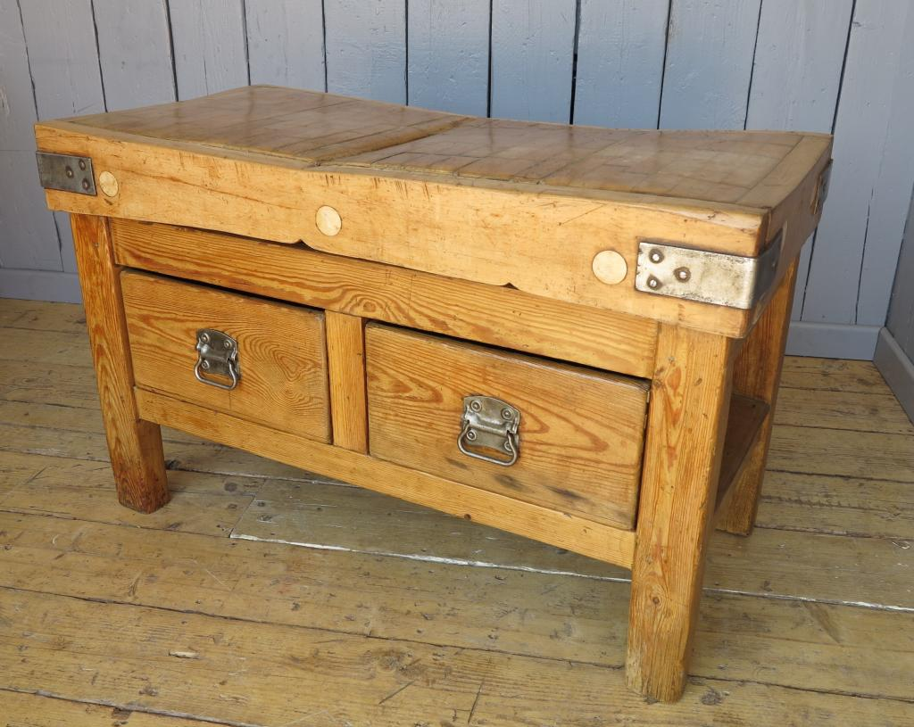 Vintage original antique butchers block fully refurnished in our workshops ready for delivery worldwide