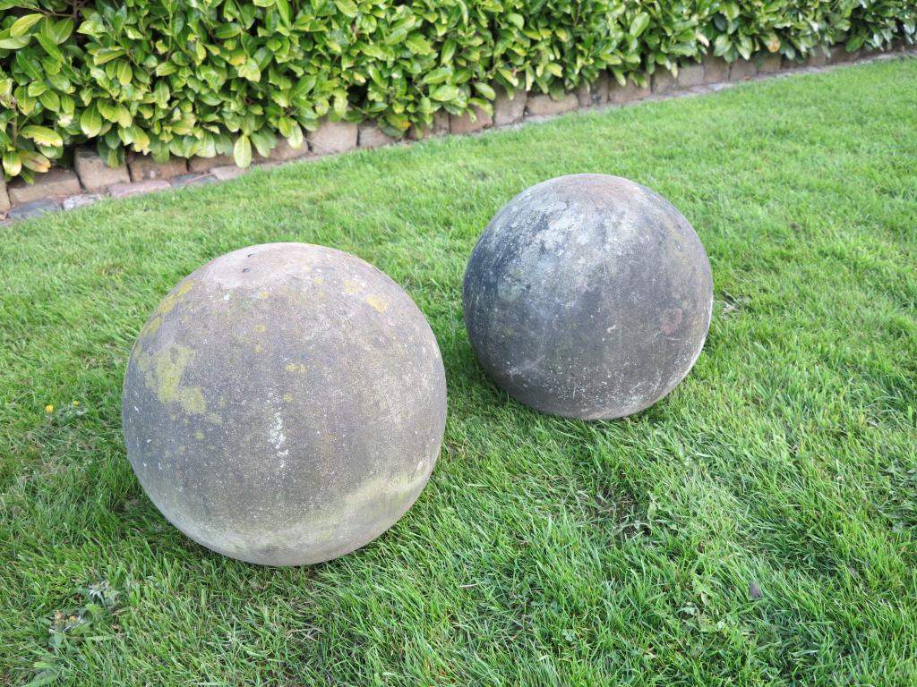 Large pair of antique hand carved stone balls for Large garden stones for sale