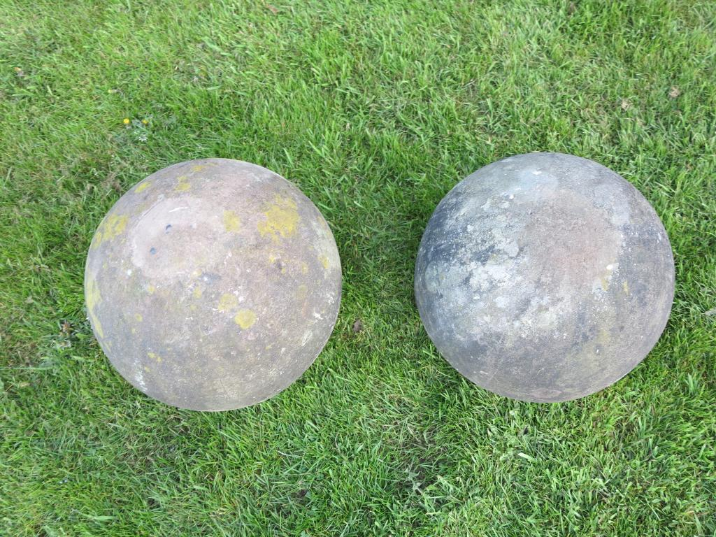 Large Pair Of Antique Hand Carved Stone Balls 7284