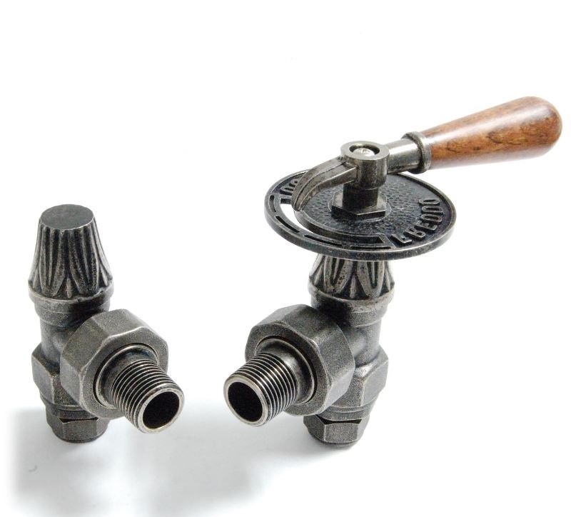Manual Abbey throttle radiator valves in pewter ideal for old reclaimed antique Victorian radiators and new Carron cast iron radiators.