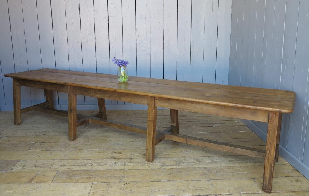 Original antique reclaimed Victorian refectory style tables made from pine or oak are in stock and available for delivery worldwide