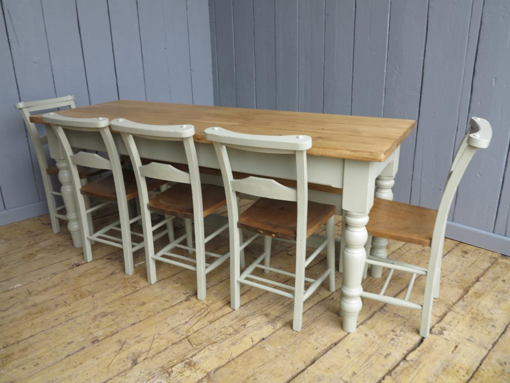 Made to customers specification Victorian Wooden Floorboard Topped Table with turned farmhouse legs painted In Farrow and ball French grey
