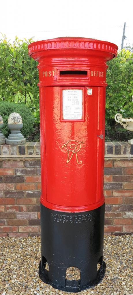 Antique original reclaimed salvaged VR pillar boxes fully refurbished with original chubb lock