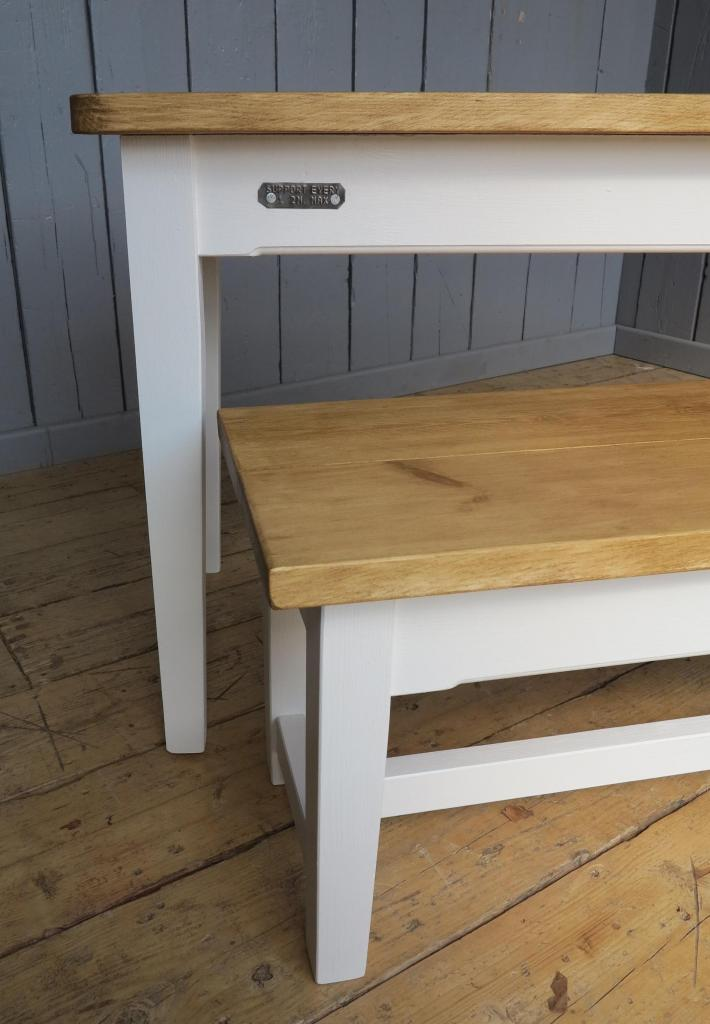 Made to measure bespoke plank top kitchen table with bench tapered legs ebay - Made to measure bench seating ...