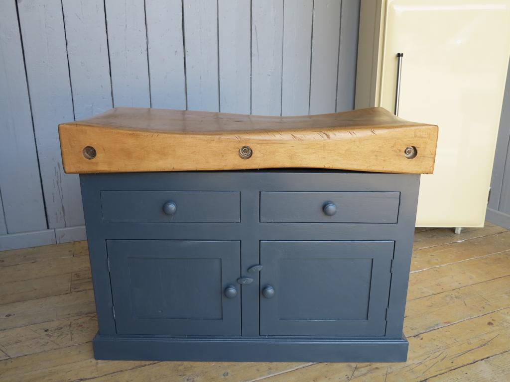 Original reclaimed antique butchers block on a wooden painted base with drawers made using reclaimed timber and painted in Farrow and Ball Railings