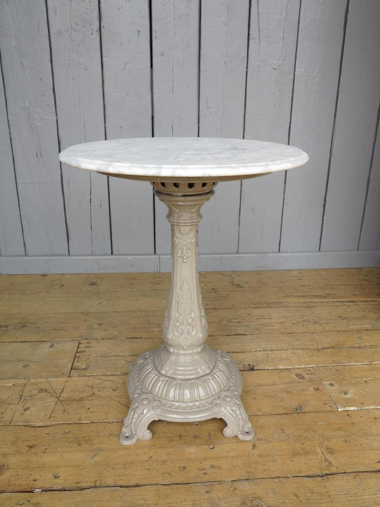Antique marble top table with cast iron base 7459 for Cast iron table base marble top