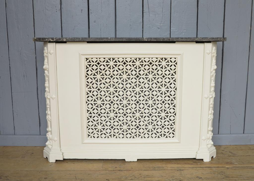 Original cast iron marble topped radiator cover panel - Cast iron radiator covers ...