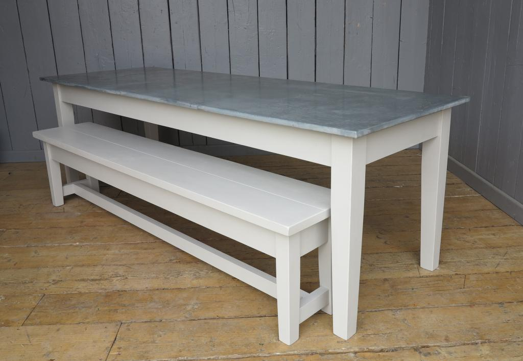Made to order natural zinc top dining tables made in the UK in our workshops by our skilled joiners